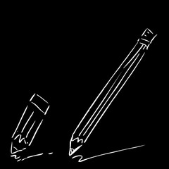 Hand Draw Sketch of two pencils, white at Black Background