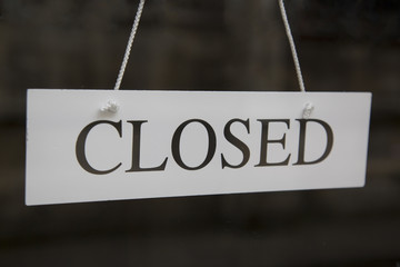 White Closed Sign