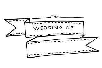 hand draw sketch of classic Wedding ceremony Ribbon