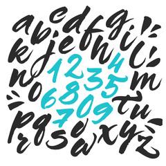 Handwritten brush alphabet