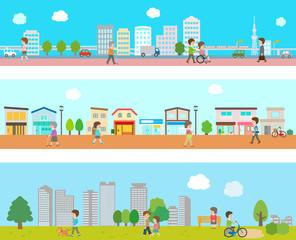 街並みと人々の風景イラスト