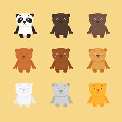 Set of cartoon doodle bear, isolated images for little kids. 9 cute smiling bear characters.