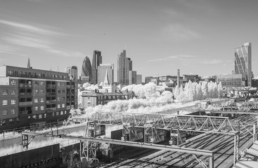 Infrared view of London City and railway tracks
