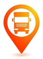 Fototapete - poids lourds sur symbole géolocalisation orange