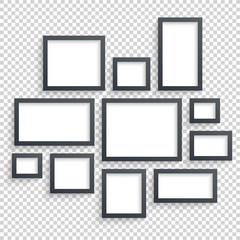 Picture frames vector. Photo art gallery. Dark Blank Collection on Wall with Transparent Realistic Shadow