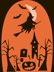 Background of witch flying on broomstick in the night