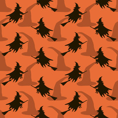 Seamless pattern of witches flying on broomsticks