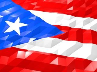 Flag of Puerto Rico 3D Wallpaper Illustration