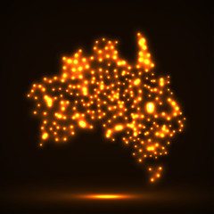 Abstract map of Australia with glowing particles, vector illustration, eps 10
