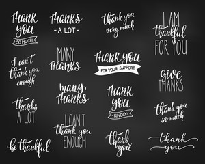 Thank you Family Positive quote lettering set