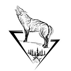 Silhouette of howling wolf. Vector abstract illustration.