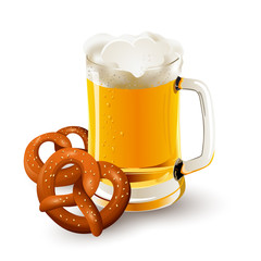 glass of beer with pretzels