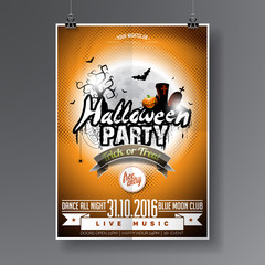 Vector Halloween  Party Flyer Design with typographic elements on orange background. Graves, bats and moon.