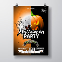 Vector Halloween Party Flyer Design with typographic elements and pumpkin on orange background. Graves, bats and moon.