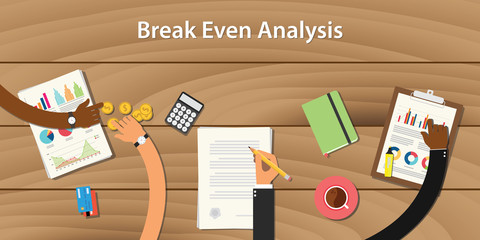 break even analysis illustration with team work together with money paper document