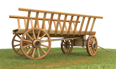 Rustic wagon sitting on the grass. 3d illustration.