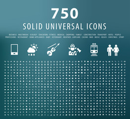 Set of 750 Universal Fitness Icons. Isolated Vector Elements.