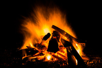 firewood in the bonfire with fire and sparks
