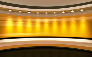 Yellow Studio. Yellow wall with light. Yellow background. Yellow back drop. 3d rendering