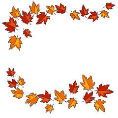 decorative autumn maple leaves frame