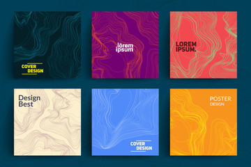 Set of Abstract Cards with Liquid Lines. Applicable for Covers, Placards, Posters, Flyers and Banner Designs. Wall mural