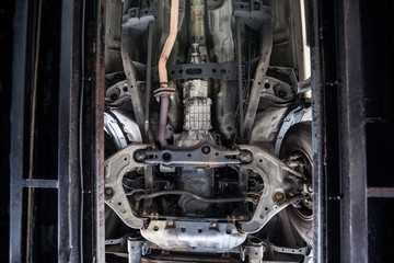 Close-up of car engine and components