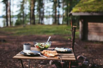 Foto auf Acrylglas Picknick picnic in the woods. kebab, salad and berries