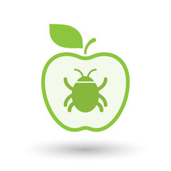 Isolated  line art apple icon with a bug