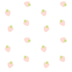 cute pink strawberry seamless vector pattern background illustration