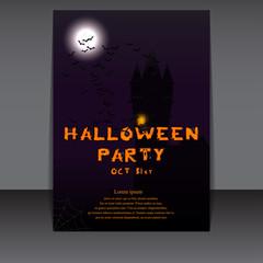 Halloween flyer design with castle silhouette on full moon. Vector illustration.