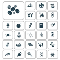Set of twenty seven education and science icons
