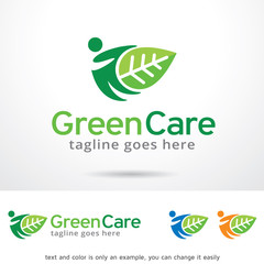 Green Care Logo Template Design Vector