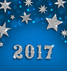 Starry Silver Background for Happy New Year 2017