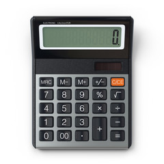 Electronic calculator.3D rendering.Isolated on white background.Top view.