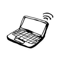 doodle laptop icon drawing illustration design