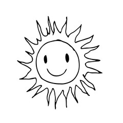Doodle sun icon hand draw illustration design