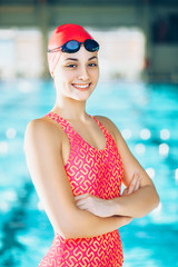 Female Swimmer/ Portrait of a female swimmer
