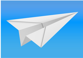 origami paper airplane on white background