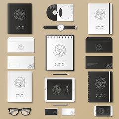 Corporate identity template set. Business stationery mock-up with logo. Branding design. Notebook, card, catalog, pen, pencil, badge, tablet pc mobile phone letterhead