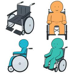 vector set of man sitting in wheelchair