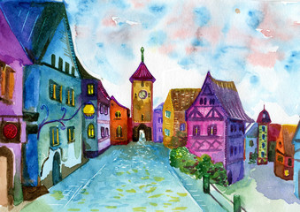 Rainbow town street watercolor illustration