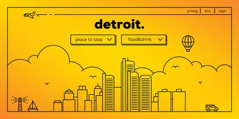 Detroit Modern Web Banner Design with Vector Linear Skyline