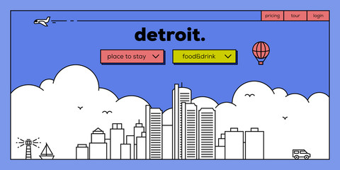 Detroit Modern Web Banner Design with Vector Linear Skyline