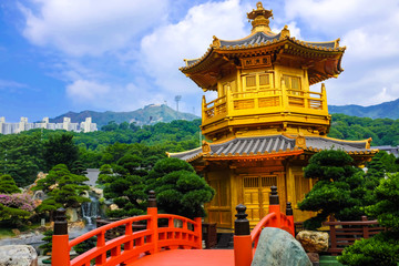 Golden pagoda in Nan Lian Garden,This is a government public par