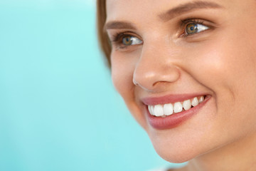 Beautiful Woman With Beauty Face, Healthy White Teeth Smiling. High Resolution Image