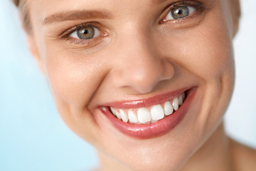 Beautiful Smile. Smiling Woman With White Teeth Beauty Portrait.. High Resolution Image