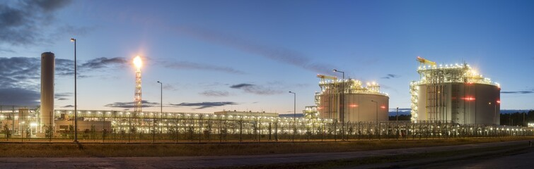 Liquefied natural gas terminal,night photography,Świnoujście,Poland