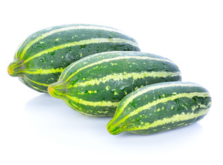 Cantaloupe melon (Cucumis melo) young on white background.