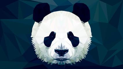 panda head polygon isolated vector