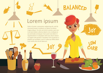 Young happy woman cooking in the kitchen. Healthy eating. Low Carb Diet flyer. Healthy Eating infographics. Vector illustration in modern flat style.